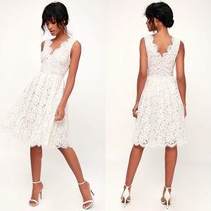 NWT Lulus Love Swept White Lace Midi Dress